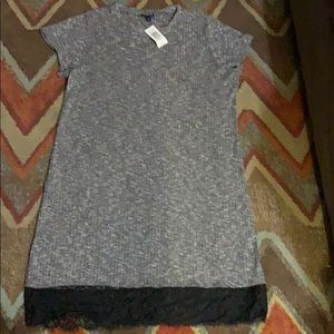 Torrid gray dress with lace bottom size 1 new